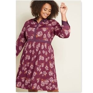 Modcloth just my typist shirt dress berry floral